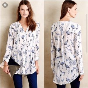 Anthropologie Maeve fauna blouse